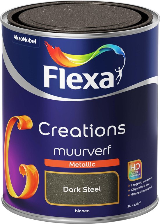 Flexa Creations - Muurverf Metallic - Dark Steel - 1 liter - Flexa