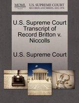 U.S. Supreme Court Transcript of Record Britton V. Niccolls