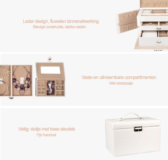 LifeGoods XL sieradendoos met spiegel Luxe Bijouterie Kistje - Juwelen Box met Houder - Ketting/Ring/Oorbellen/Horloge - Dames/Meisjes - Wit