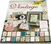 Folia Vintage Knutsel Karton Motiefblok A040100 - 20 blad - met schaar en lijm