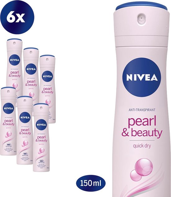 NIVEA Pearl & Beauty Deodorant Spray - 6 x 150 ml - Voordeelverpakking