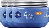 NIVEA Care & Hold Styling Crème Haargel - Gel - Strong - 3 x 150 ml - Voordeelverpakking