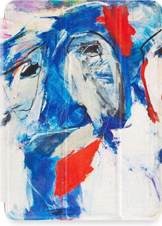 Apple iPad Hoes - Smart Cover - Voor de iPad Air 2 - Kunst Abstract Artistiek 'Faces' Wit - Uniek design