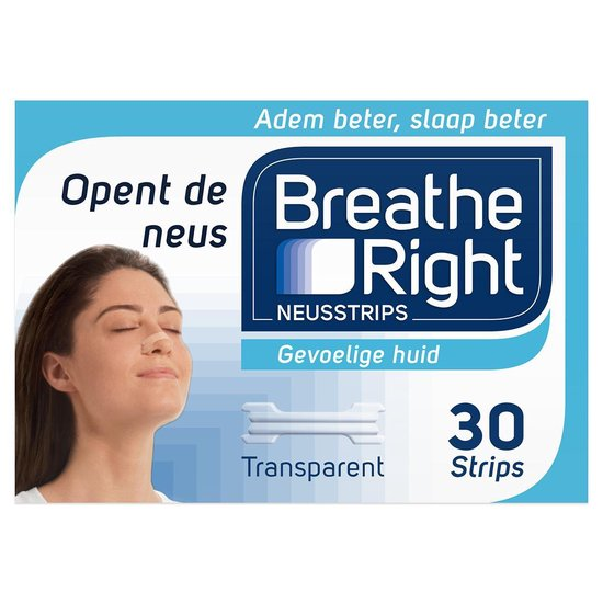 Breathe Right - 30 st - Neusstrips - Transparant - Antisnurkmiddel