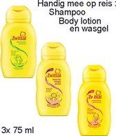 Zwitsal mini's voor op reis: shampoo, lotion en wasgel,  ( 3x 75 ml)
