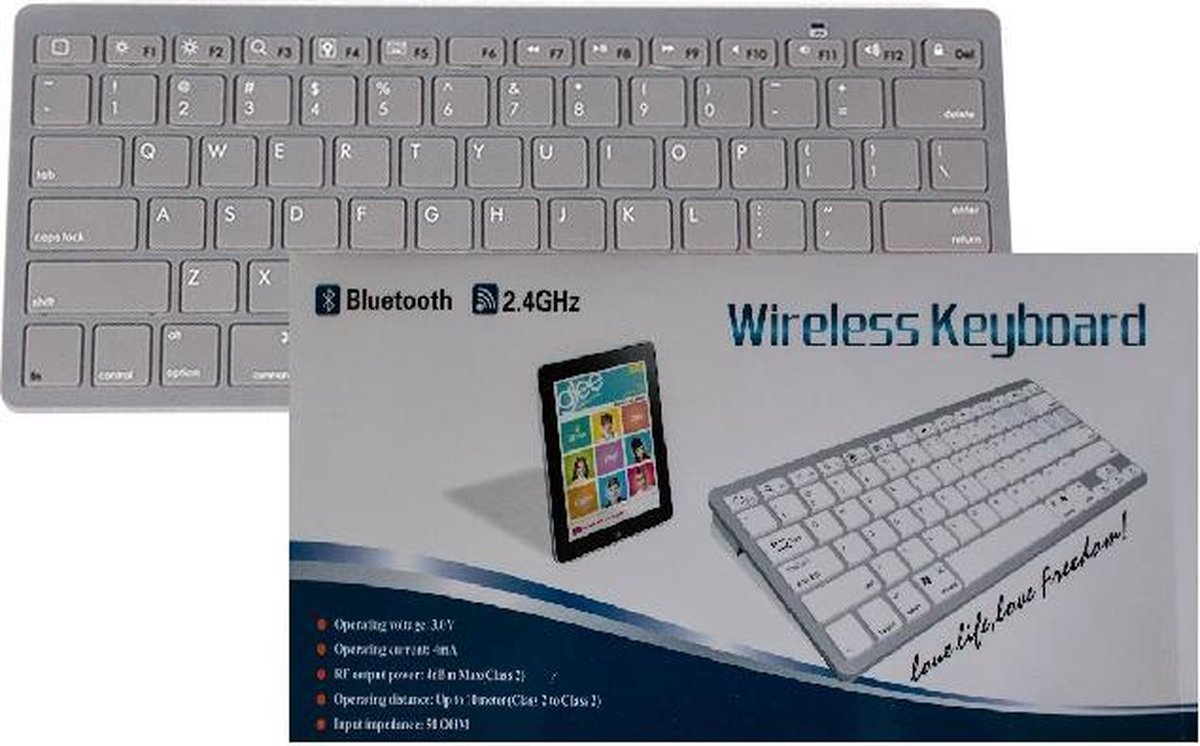 Wireless Bluetooth Keyboard geschikt voor iPhone, iPad, iPod, Samsung, Tablets, Android, LG, Huawei QWERTY Universeel Grijs Grey