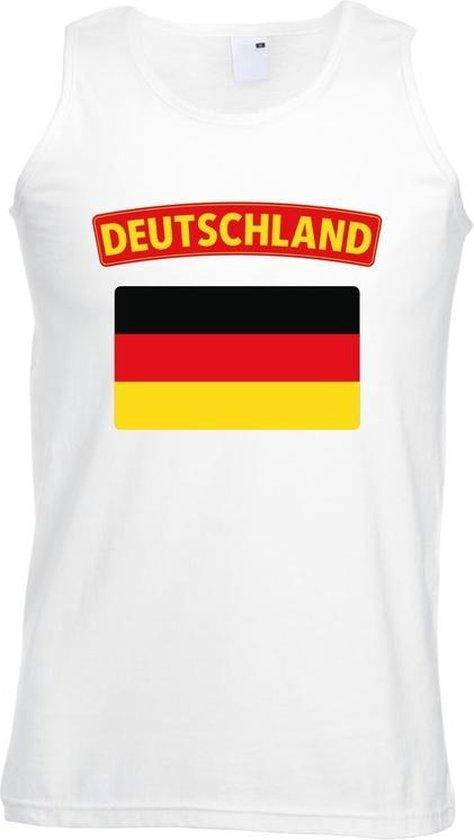 Singlet shirt/ tanktop Duitse vlag wit heren 2XL