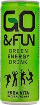 GO&FUN Green Energy Drink, 24 stuks (Géén Taurine & synthetische cafeïne)