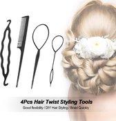 Haar style hulpstukken | Styling tool haarclip |  Donut Bun Knot maker | Lus invlecht | Puntkam | Set van 4 stuks | Zwart