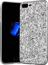 Apple iPhone 7 Plus - 8 Plus Backcover - Zilver - Glitters - Hard PC Hoesje