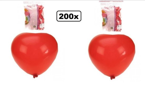 200x Hartje ballon rood 30cm - ballon hart rood liefde valentijn trouwen huwelijk