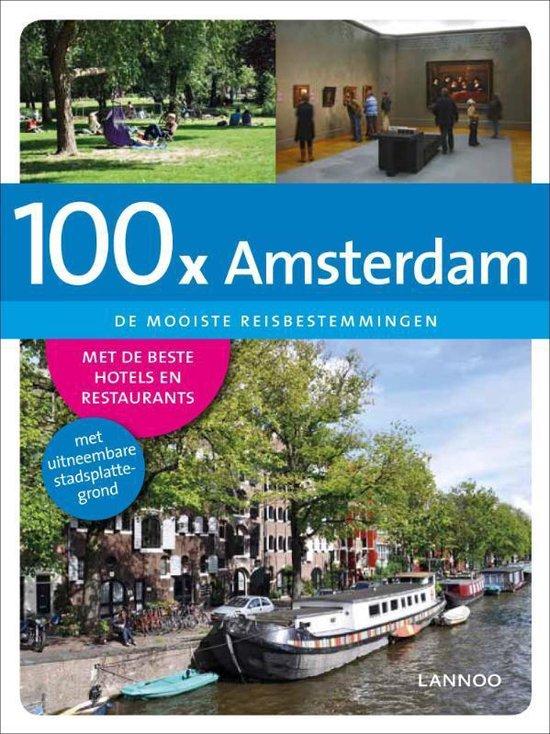 Cover van het boek '100 x Amsterdam  + stadsplattegrond' van Bas Beekman