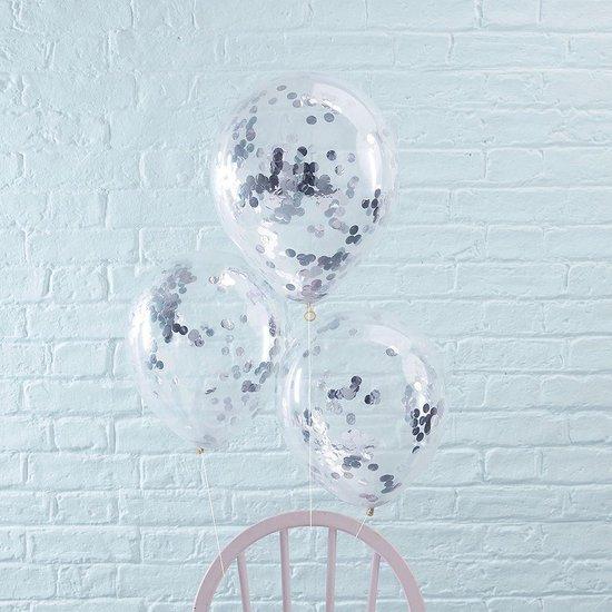 10 confetti ballonnen zilver 30 cm|Ideaal voor feesten en andere gelegenheden
