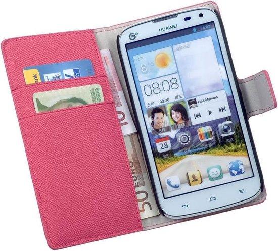 LELYCASE Bookcase Roze Flip Wallet Hoesje Huawei Ascend G610