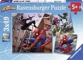 Ravensburger puzzel Spiderman in actie - Drie puzzels - 49 stukjes - kinderpuzzel