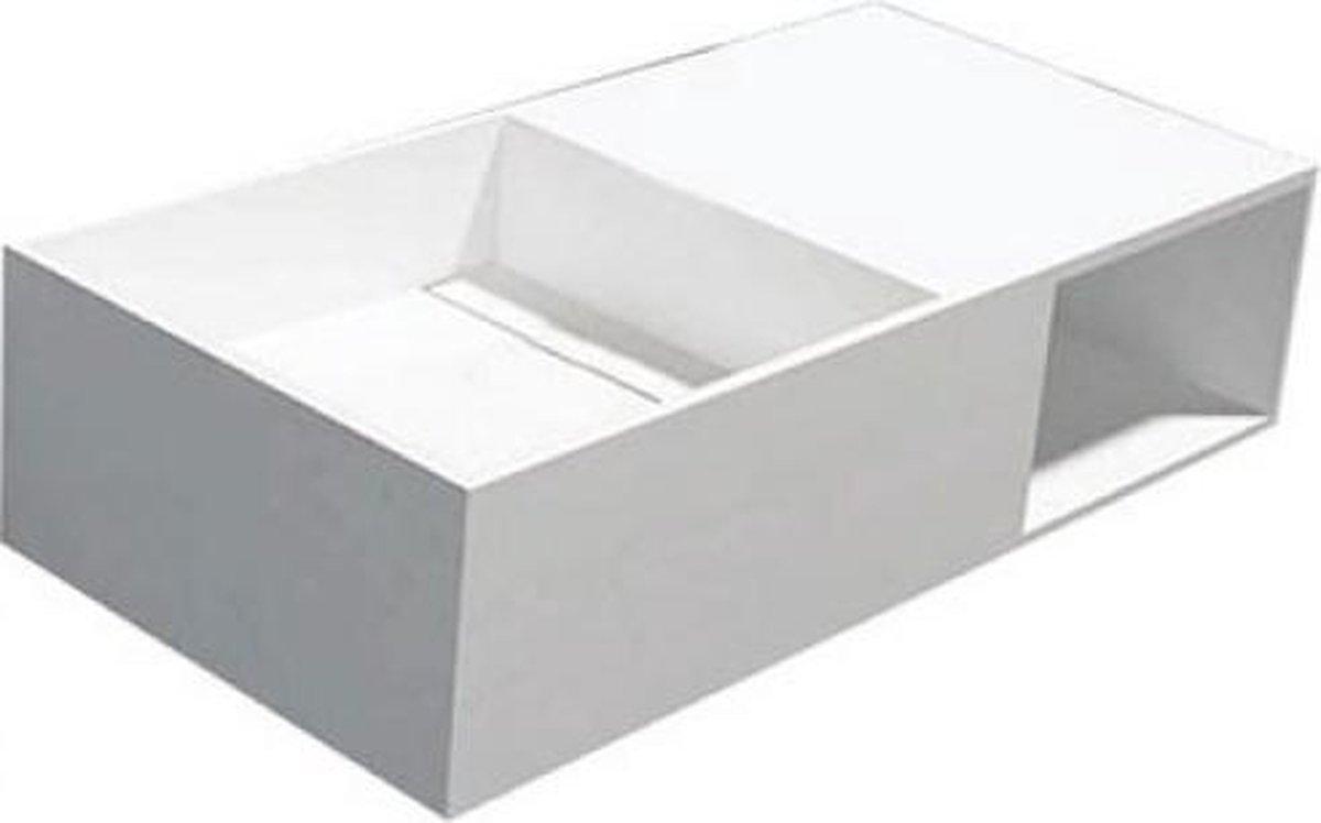 Wastafel Hangend QWEE-80 Rechthoek 80x40x20cm Solid Surface Glans Wit Zonder Kraangat