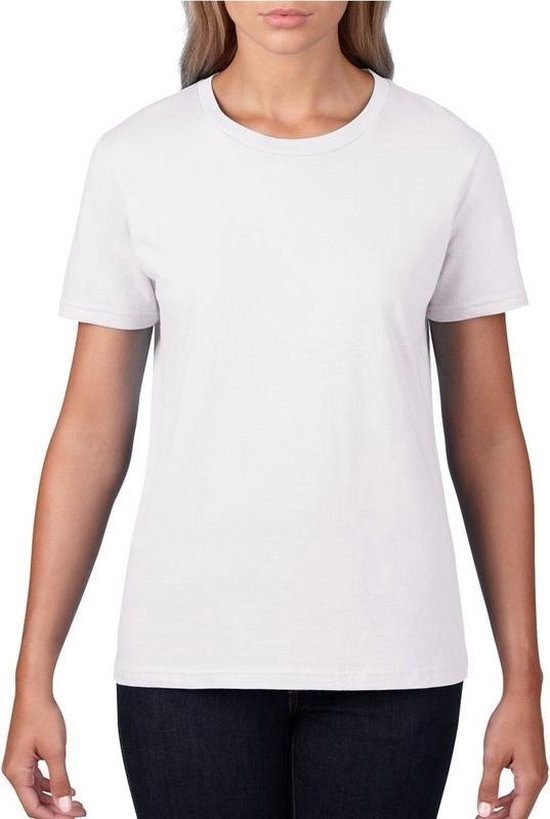 Basic ronde hals t-shirt wit voor dames - Casual shirts - Dameskleding t-shirt wit 2XL (44/56)