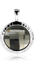 Zinzi zilveren ronde hanger 26mm zwart Swarovski ZIH1054Z