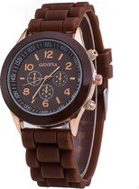 Geneva Siliconen Bruin Horloge | Fashion Favorite