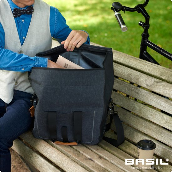 Basil Urban Dry Business Bag Enkele Fietstas - 20 liter - Charcoal melee