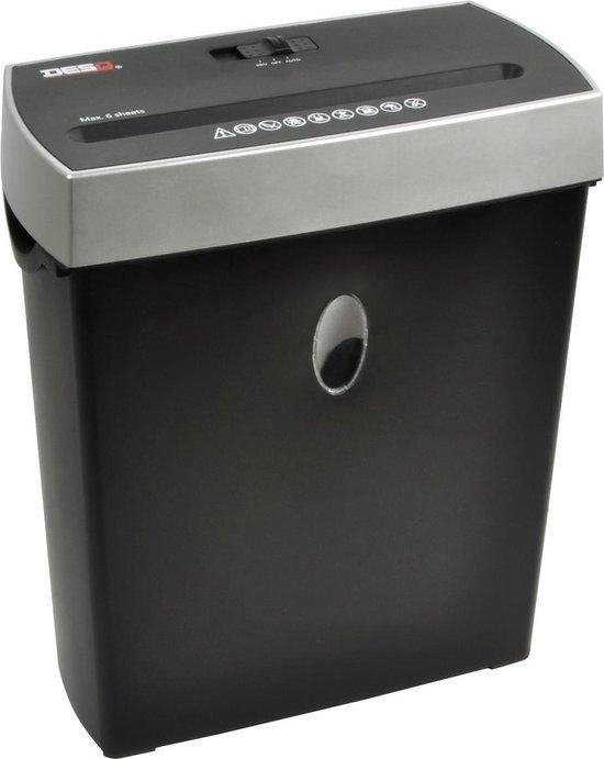 DESQ® 20009 Papierversnipperaar met mat zwarte afwerking | 8 vel | 4 x38 mm | P4 | Ook creditcards | 11 liter opvangbak