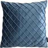 Velvet Cross Blauw Kussenhoes | Fluweel - Polyester | 45 x 45 cm