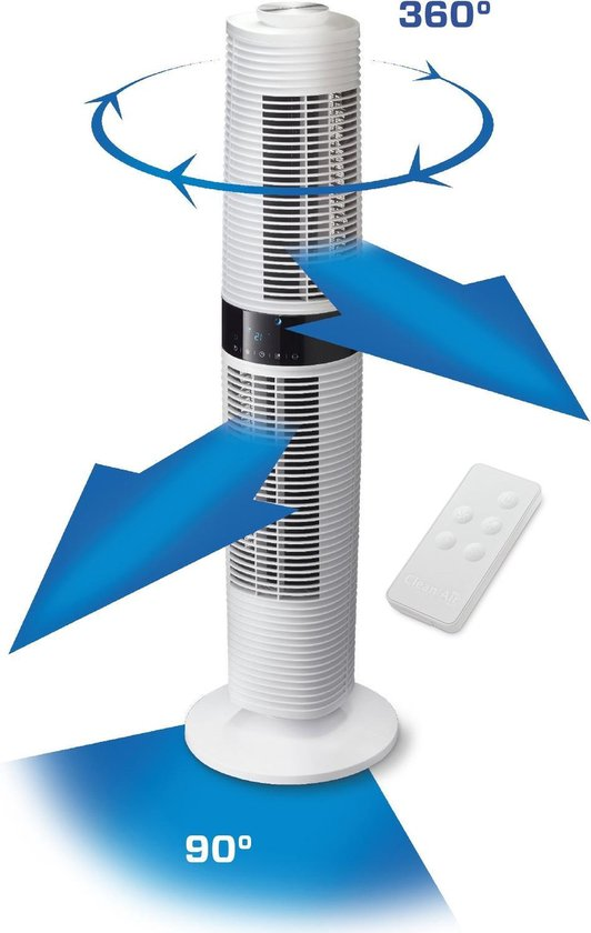 Clean Air Optima® CA-406W - Design Torenventilator - Ventilator met Temperatuursensor - Oscillatie: 90º en 360º