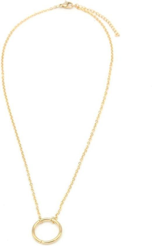 Ketting met Ring- Necklace Ring - RVS - Lengte 47cm - Goudkleurig - Musthaves - Dielay