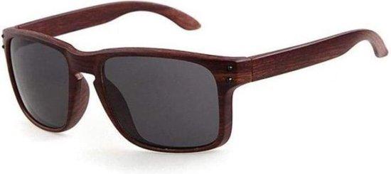 Goedkope zonnebril / Houten zonnebril /  Hout print /  Zwart
