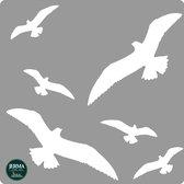 Vogel bescherming windscherm sticker set 6 vogels wit