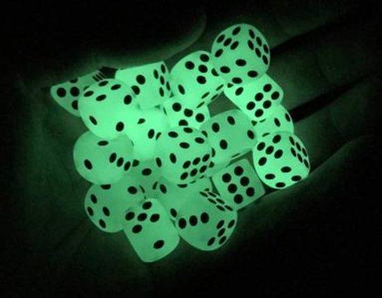 Thumbnail van een extra afbeelding van het spel 12 Stuks Glow in the dark Dobbelstenen