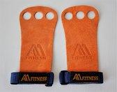 3 Hole Anti Slip Hand Grips Voor alle Sporten - Premium Kwaliteit - Oranje - Large