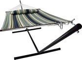 Hangmat met standaard 2 Persoons / 200kg, 190 * 140, Afneembaar kussen, Weerbestendig UV-bestendig (donkerblauw / donkergroen) VITA5