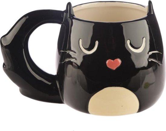Mok Zwarte Kat 'Feline Fine' in Giftbox – Kattenmok Beker Cadeau Theemok Koffiemok Kattenbeker Soep Limonade Drinkbeker Dierenmok Kattenliefhebber Cadeauverpakking