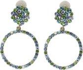 Clip oorbellen hangers rond blauw groene steentjes