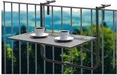 Balkontafel mat zwart 60x40cm - balkon - terras - tuin - buiten - tafel - reling - bijzet