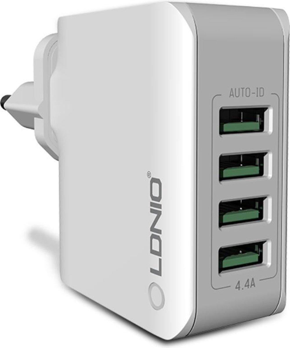 Oplader/Thuislader met 4 USB poorten 5V - 4.4A - Travel Adapter - Wit