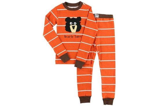 Kinderpyjama LazyOne Bearly Tame strepen oranje met gestreepte broek - 92