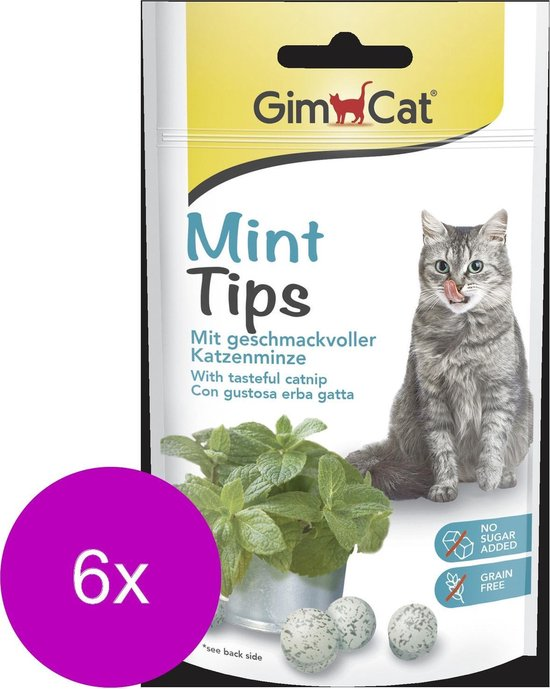 Gimcat Mint Tips - Kattensnack - 6 x 40 g