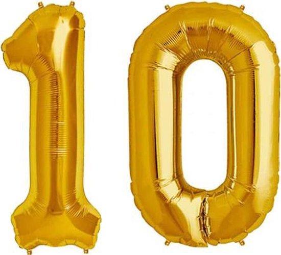 Cijfer 10 Goud Helium 86 cm Excl. Helium