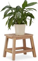 relaxdays houten kruk - notenhout - kinderkruk - opstapje - plantenkruk - voetenbank