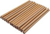 Herbruikbare rietjes - Bamboe - 25 Stuks + schoonmaakborstels