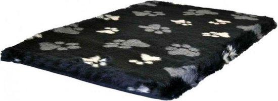 Benchkussen Teddy zwart met poot afdruk 90x60x4 cm