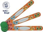 Tutu-Band® polsbandjes - Set van 2 SOS naambandjes voor kinderen - Vrolijke voetjes