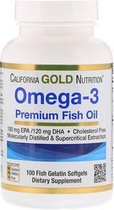 Omega-3, Premium visolie, 100 vis gelatine Softgels - California Gold Nutrition