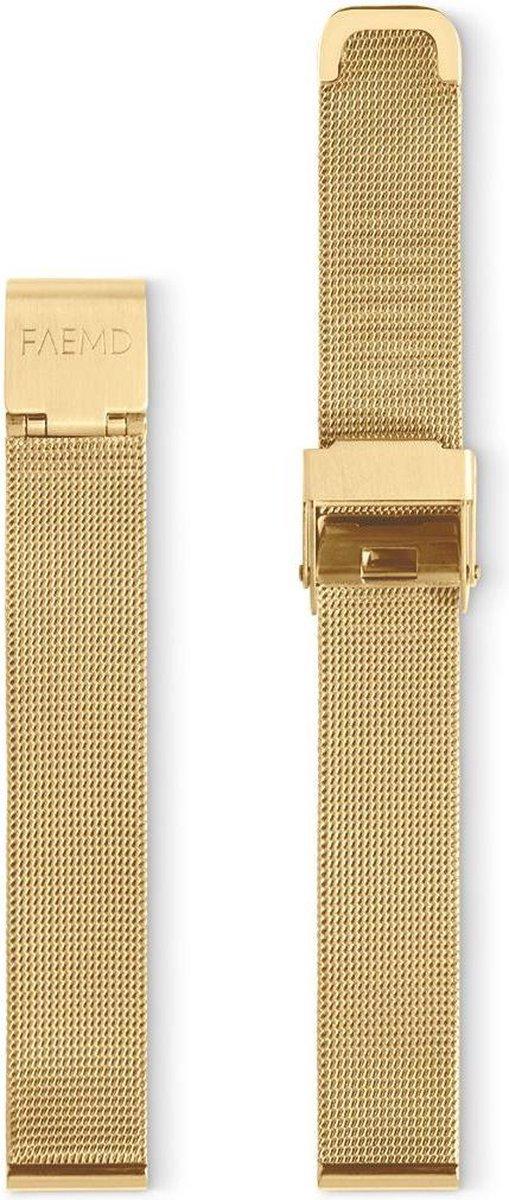 FAEMD Lune Mesh Series Strap - Horlogeband - Mesh - Goud - 14mm - FAEMD