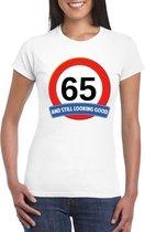Verkeersbord 65 jaar t-shirt wit dames XL