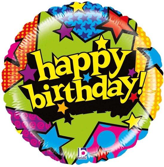 Folie cadeau sturen helium gevulde ballon Gefeliciteerd/Happy Birthday sterren 53 cm - Folieballon verjaardag versturen/verzenden