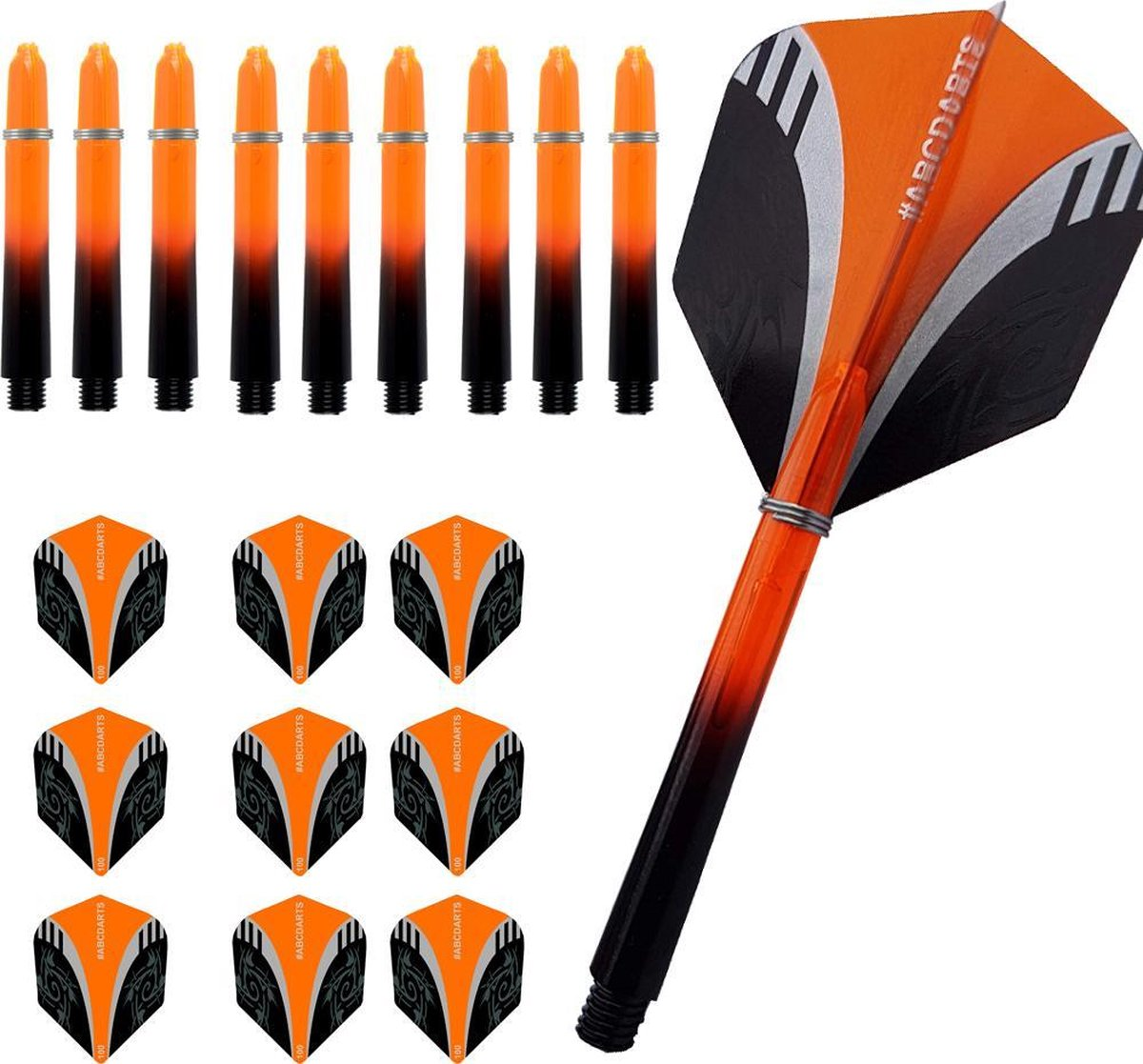 ABC Dart - Dart Flights en Darts Shafts Short - Tribal oranje - 3 sets