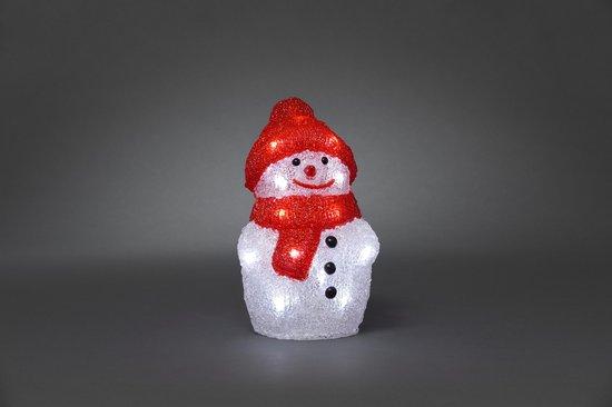 Konstsmide - LED acryl sneeuwpop 22cm op batt 20x - koelwit